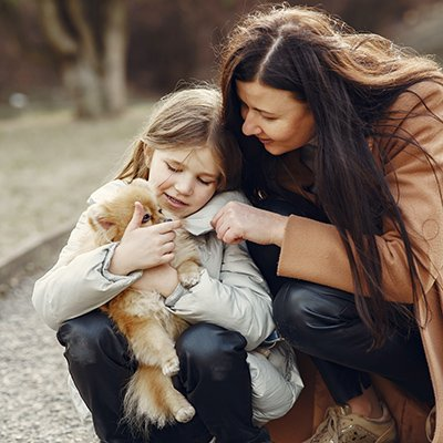 A mother andHappy mother and cute daughter playing and hugging adorable dog in autumn park