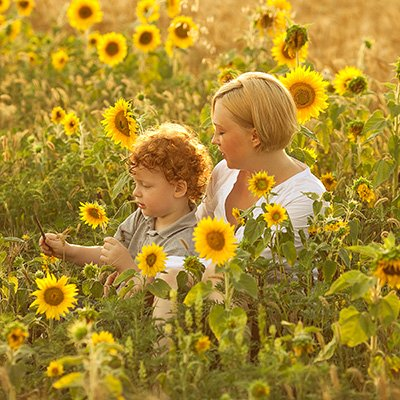 a mother and her son sit in a field of sunflowers